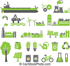 Green energy symbols, ecology concept, factory