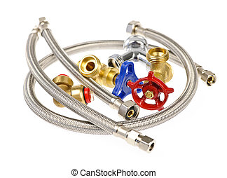 Plumbing parts - Pile of plumbing valves hoses and assorted...