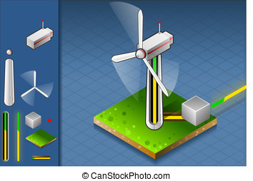 isometric wind turbine - Detailed animation of a isometric...