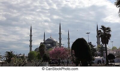 blue mosque with clouds