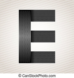 Letter metal ribbon - E - Font from folded metallic ribbon -...