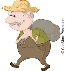 Man carries a sack - Old man in a straw hat carries a canvas...