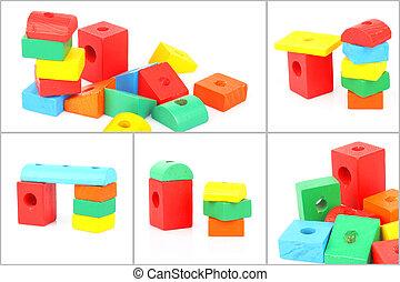 Set of wooden toy bricks
