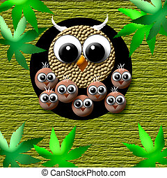 cozy owl family - family of owls in a tree poster...