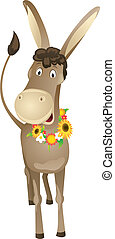 Cartoon donkey with wreath - Fun cartoon donkey with wreath...
