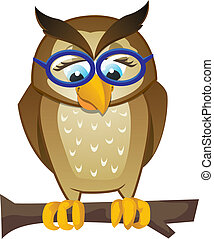 Owl on branch with glasses
