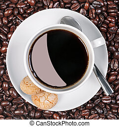 Coffee cup biscuits and beans. - Overhead photo of a coffee...