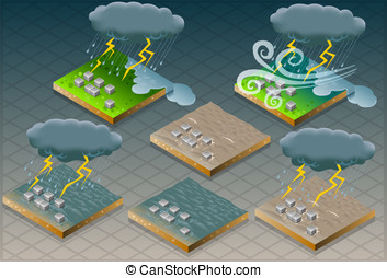 isometric natural disaster flood mu - Detailed illustration...