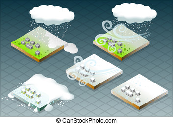 isometric natural disaster snow - Detailed illustration of a...