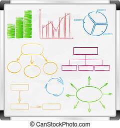 Whiteboard with graphs and diagrams, vector eps10...