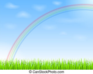 Rainbow in blue sky, vector eps10 illustration