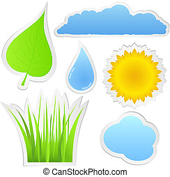 Stickers with nature elements, vector eps10 illustration