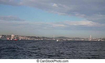 bosphorus with sea traffic 3 - time lapse bosphorus with sea...