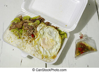 Take home food - Foam take out container Thai food