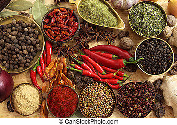 Spices and herbs in metal bowls. Food and cuisine...