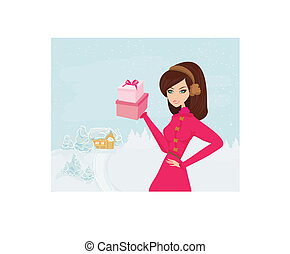 fashion shopping girl with gift box