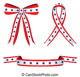 Patriotic Ribbons - Stylish ribbons colored red white blue...