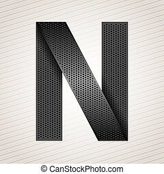 Letter metal ribbon - N - Font from folded metallic ribbon -...
