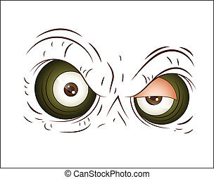Angry Cartoon Eye Vector - Conceptual Design Art of Angry...
