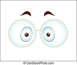 Surprised Eye with Glasses - Conceptual Art Design of...