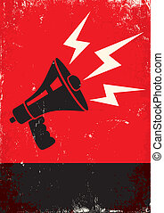 megaphone - Red and black poster with megaphone and...