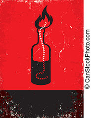 Molotov cocktail - Red and black poster with Molotov...