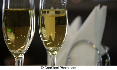 Two Champagne and Serviette - Two Glasses of Champagne and...