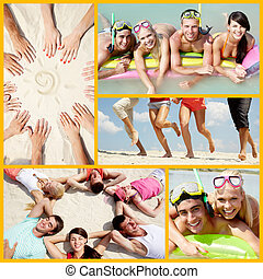 Summer vacations - Collage of happy friends enjoying summer...