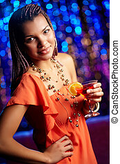 Clubbing beauty - Beautiful African-American woman dressed...