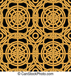 Ethnic gold interlaced - seamless vector pattern - Ethnic...