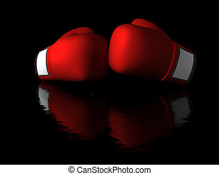 Boxing gloves in dark background with reflection