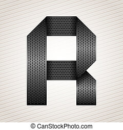 Letter metal ribbon - R - Font from folded metallic ribbon -...