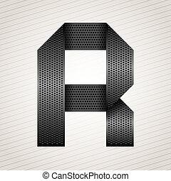 Letter metal ribbon - R