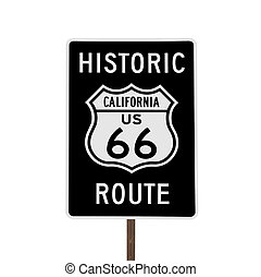 Historic Route 66 California Road Sign Isolated - Historic...