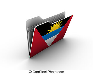 folder icon with flag of antigua and barbuda on white...
