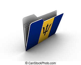 folder icon with flag of barbados on white background