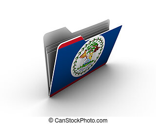 folder icon with flag of belize on white background