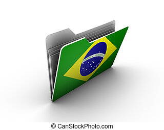 folder icon with flag of brazil on white background