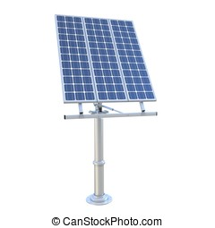 3d electric solar panel on white background