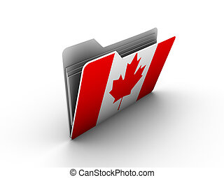 folder icon with flag of canada on white background