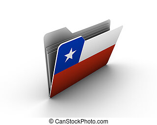 folder icon with flag of chile on white background