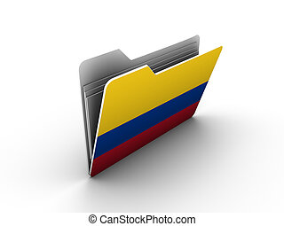 folder icon with flag of colombia on white background