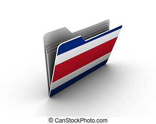 folder icon with flag of costa rica on white background