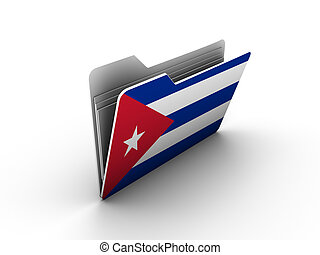 folder icon with flag of cuba on white background