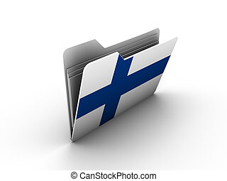folder icon with flag of finland on white background