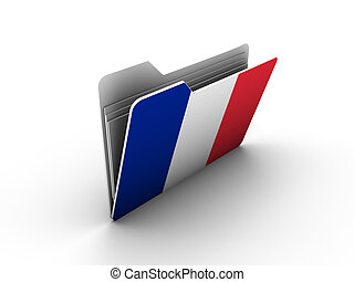 folder icon with flag of france on white background