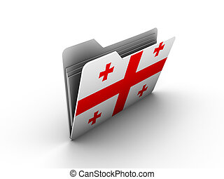 folder icon with flag of georgia on white background