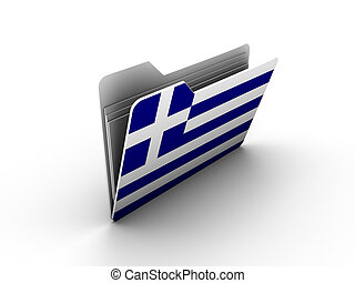 folder icon with flag of greece on white background