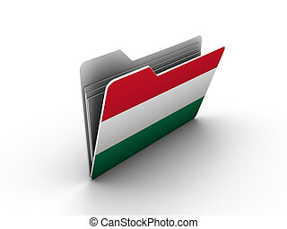 folder icon with flag of hungary on white background