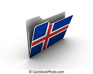 folder icon with flag of iceland on white background